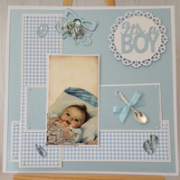 It's A Boy Gingham Card