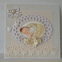 Hearts & Flowers New Baby Card (Cream)