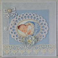 Hearts & Flowers New Baby Card (Blue)