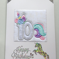 Unicorn Age 10 Card