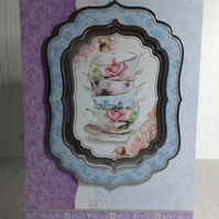Teacup and roses card