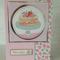 Cake and Flowers Greeting Card
