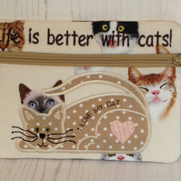 Life is better with cats make up bag