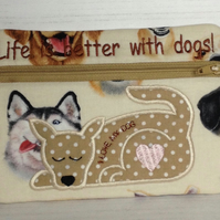 Life is better with a dog make up bag
