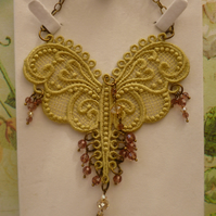 Lace Butterfly & Crystals Necklace