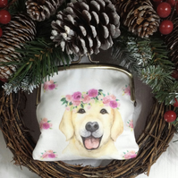 Dog and Flowers Frame Clutch Bag