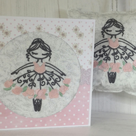 Flower Fairy Ballerina Door Pillow and Card