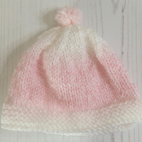 Pink and White Random Knit baby hat