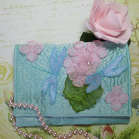 Dragonfly and Petal Silk Clutch