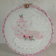 Afternoon Tea Embroidered Hoop