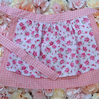 Rose and Gingham Child's Half Apron