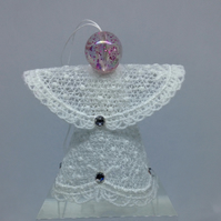 Lace Angel Hanging Ornament (Pink bead head)