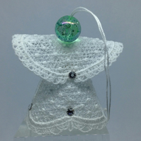 Lace Angel Hanging Ornament (Green Bead Head)