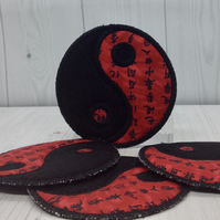 Yin & Yang Coasters, Black and Red Script (Set of 4 coasters)