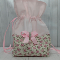 Rose and Bow Drawstring Pouch