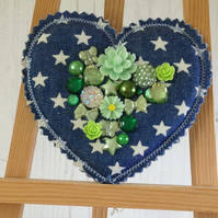 Festival Heart Brooch Pin (Green)