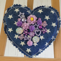 Festival Heart Brooch Pin (Lilac)