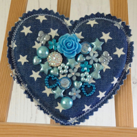 Festival Heart Brooch Pin  (Blue too)