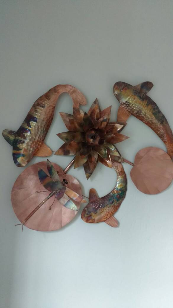 Water lily, koi carp and dragonfly wall hanging
