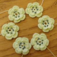 6 HANDMADE COTTON FLOWERS - APPLE GREEN & BEADS - FOR USE IN CRAFTS & PROJECTS