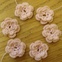 6 HANDMADE COTTON FLOWERS - DARK PINK & BEADS - FOR USE IN CRAFTS & PROJECTS