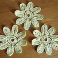 3 APPLE GREEN EIGHT PETAL CROCHET COTTON FLOWERS - 7cm - SCRAPBOOKING & CRAFT