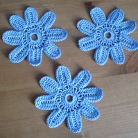 3 HYACINTH BLUE EIGHT PETAL CROCHET COTTON FLOWERS - 7cm - SCRAPBOOKING & CRAFT