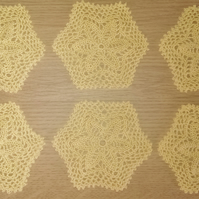 SET of 6 COTTON COASTERS in YELLOW - LOVELY CROCHET DESIGN 11cm