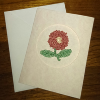 PALE MARBLE EFFECT SMALL CARD, WITH RAISED PINK FLOWER - BLANK, MOTHERS DAY?
