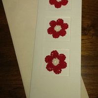 TALL CREAM LINEN EFFECT CARD, WITH 3 STRIKING RED FLOWERS - TO PERSONALISE
