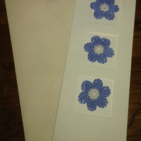 TALL CREAM LINEN EFFECT CARD WITH 3 LOVELY BLUE FLOWERS - CREATE YOUR  MESSAGE