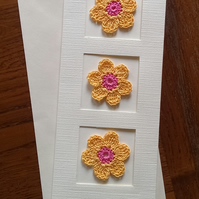 TALL CREAM LINEN EFFECT CARD-  3 LOVELY ORANGE & PINK FLOWERS - CREATE YOUR OWN