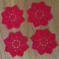 SET of 4 CROCHET 'STAR' COASTERS in RED  - IDEAL TABLE DECORATIONS - 12.5cm