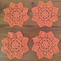 SET of 4 CROCHET 'STAR' COASTERS IN ORANGE - IDEAL TABLE DECORATIONS - 12.5cm