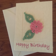 SMALL 'HAPPY BIRTHDAY' CARD WITH PRETTY PINK FLOWER ON CREAM MARBLE EFFECT CARD
