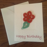 SMALL 'HAPPY BIRTHDAY' CARD WITH BURNT ORANGE FLOWER ON CREAM HAMMER EFFECT CARD