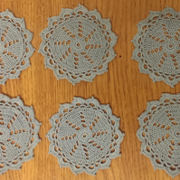 SET of 6 COTTON COASTERS in BLUE - LOVELY CROCHET DESIGN 10cm