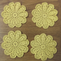 TABLE DECORATIONS - SET of 4 CROCHET COASTERS, MATS  IN YELLOW - 11cm
