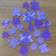 LOVELY PACK OF 20 PURPLE AND LILAC FLOWER MIX - 2.5cm to 6.5cm - FOR CRAFTS?