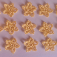 15 GOLD STARS 2.5cm - 100% COTTON ALL HAND CROCHET - GREAT FOR CRAFTS or CARDS