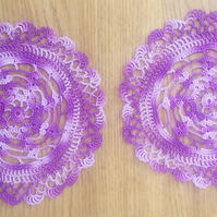 100% COTTON TABLE MATS - IN A LOVELY MULTI PURPLE DESIGN - 18CM - HAND CROCHETED