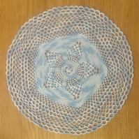 PALE BLUE MULTICOLOURED TABLE CENTREPIECE, MAT or DOILY - 37CM -  STAR DESIGN