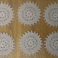 SET oF 6 -  ECRU or DARK CREAM COASTERS - 11.5cm -  LOVELY TABLE DECORATION