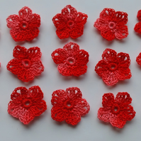15 LOVELY LITTLE (2.5cm) RED  MULTI, 5 PETAL FLOWERS - HANDMADE 100% COTTON