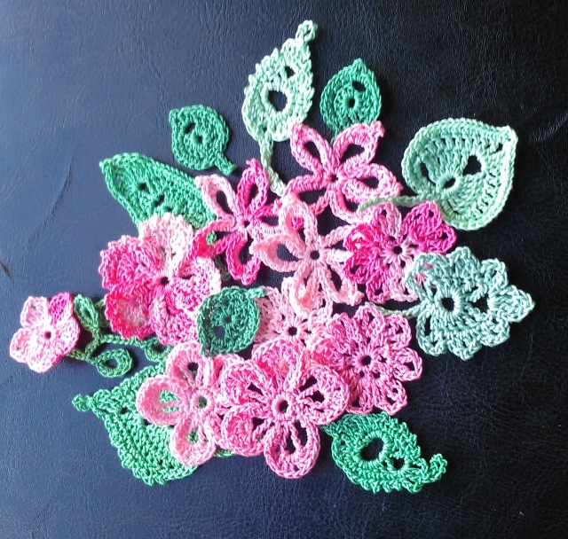 20 FLOWER & LEAF EMBELLISHMENTS - PINKS & GREENS- GREAT FOR ALL CRAFTS & DESIGNS