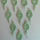 PACK of 10 LIGHT GREEN 'WILLOW' LEAVES for CARDS - EMBELLISHMENTS 100% COTTON