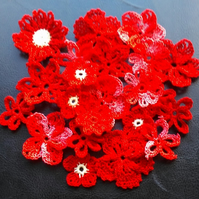 LOVELY PACK OF 20 RED &  MULTI FLOWER MIX - EMBELLISHMENTS FOR CRAFTS & CARDS