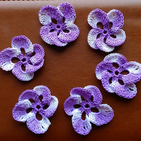 6 LOVELY LILAC MULTICOLOURED PANSIES - HANDMADE IN 100% CROCHET COTTON FOR CRAFT