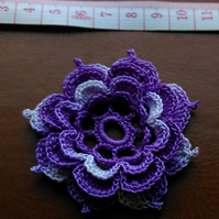 4 LAYERS OF PETALS - 6cm LILAC & MULTICOLOURED FLOWER FOR CRAFTS - 100% COTTON