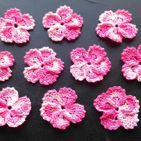 PINK MULTICOLOURED FLOWERS - 5 PETALS LOVELY EDGING - PACK of 10 - EMBELLISHMENT